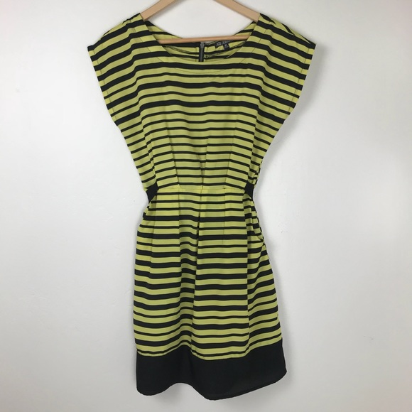 Dresses & Skirts - Lime Green and Black Striped Dress